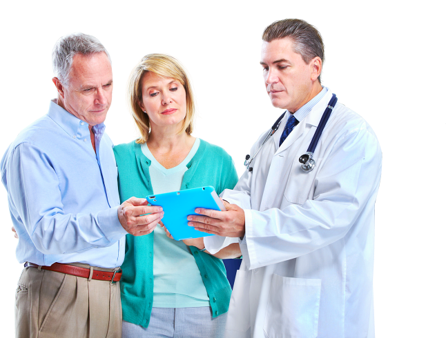 pharmacist assisting elderly couple
