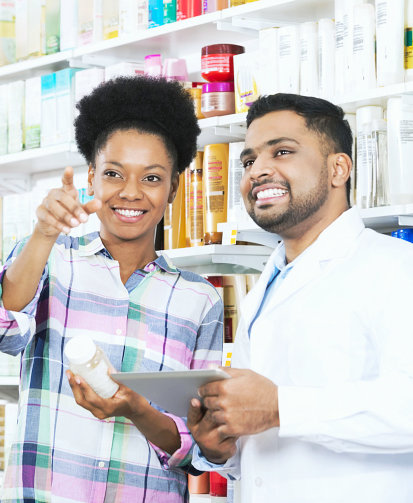 pharmacist assisting his customer